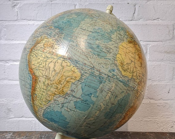 Vintage East German 1960s Physical Earth Globe By Raths Leipzig