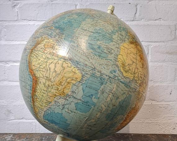 Vintage East German 1960s Physical Earth Globe By Raths Leipzig