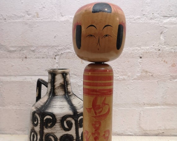 Vintage 1960s Kokeshi Japanese Wooden Hand Painted Doll