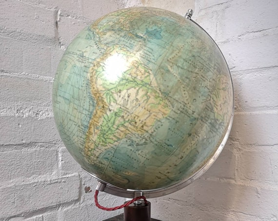 Vintage East German 1960s Physical Earth Glass Globe Lamp By Raths Leipzig