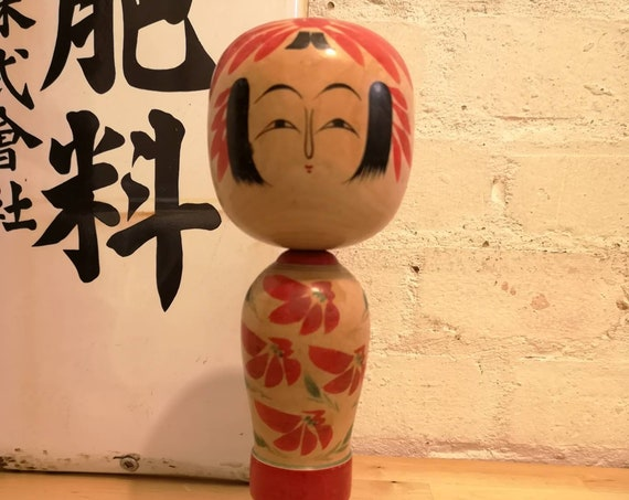 Vintage 1970s Kokeshi Japanese Wooden Hand Painted Doll