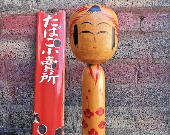 Vintage Japanese Wooden Hand Painted Kokeshi Doll In Togatta Style #006