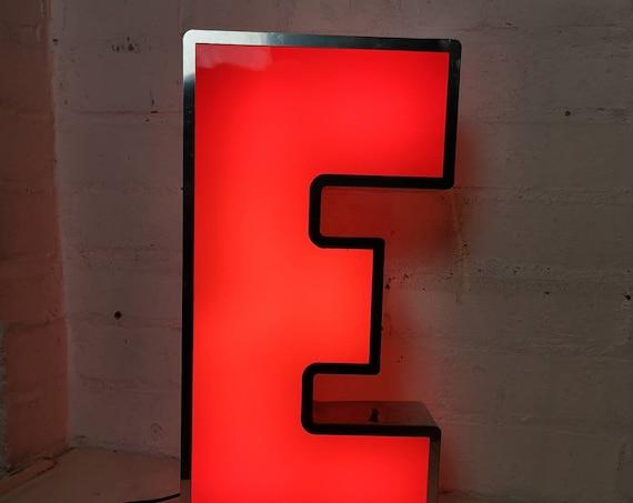 Salvaged Shop Sign Light Up Letter E