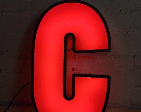 Salvaged Shop Sign Light Up Letter C