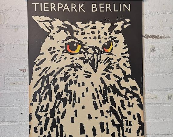 Vintage 1970s Tierpark Berlin Original Zoo Poster Advertising Of An Owl
