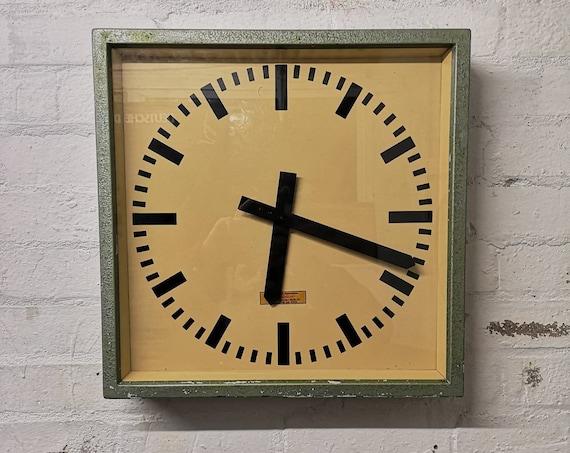 Large 1950's East German Industrial Factory Clocks By Elfema