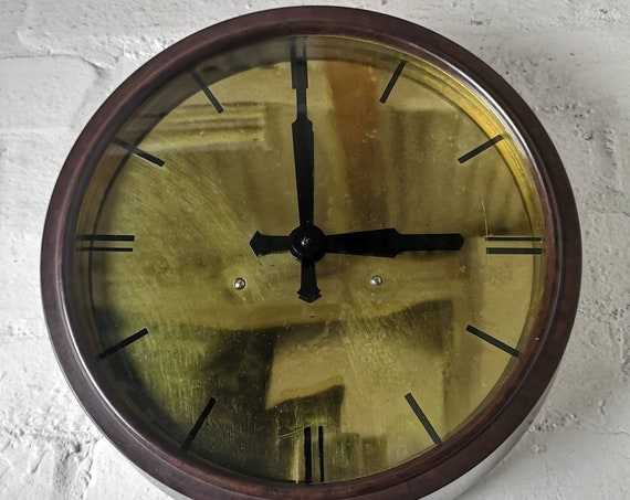 1940's Bakelite & Brass Electric Factory Clock By SEC Smiths English Clocks London