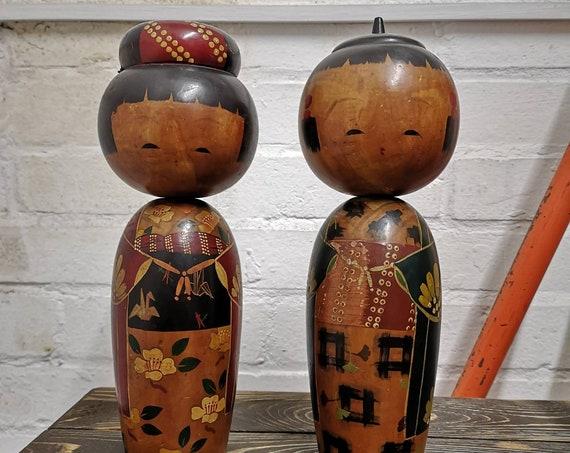 Vintage Pair Traditional Japanese Sosaku Style Kokeshi Doll #104