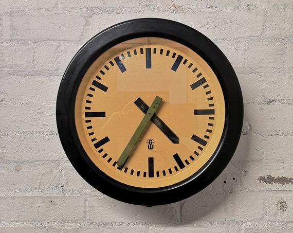 Large 1950s Bakelite East German Modernest Factory Clocks By GW ( Geratewerk Liepzig )