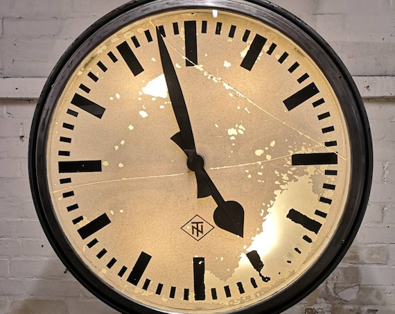 1950s Very Large Double Sided Station Clock By TN Tele Norma