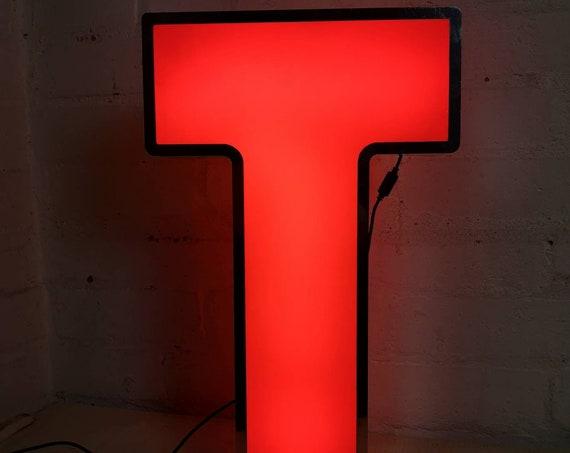 Salvaged Shop Sign Light Up Letter T