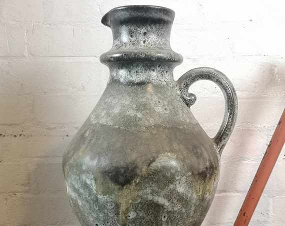 Vintage Large 1960s West German Pottery Vase / Jug FAT LAVA