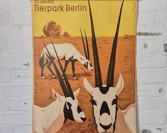 Vintage 1980s Tierpark Berlin Original Zoo Poster Advertising Of A Herd Of Ibex Celebrating 30 Years