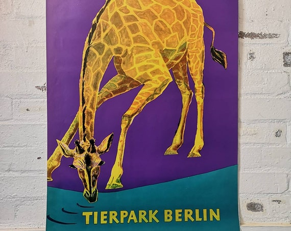 Vintage 1970s Tierpark Berlin Original Zoo Poster Advertising Of A Giraffe