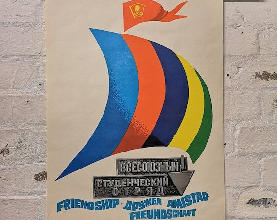 Vintage USSR Communist Student Union Propaganda Poster