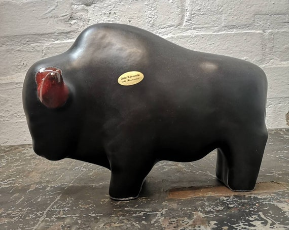 Otto Keramik Ceramic Bull West German Pottery Fat Lava