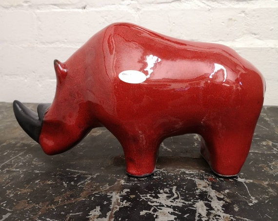 Exclusive Otto Keramik Ceramic Rhino West German Pottery Fat Lava