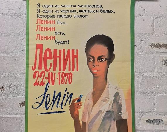 Vintage USSR Communist Propaganda Poster Commemorating Comrade Lenin