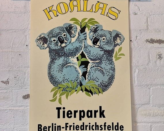 Tierpark Berlin Original Zoo Poster Advertising Of Koala Bears