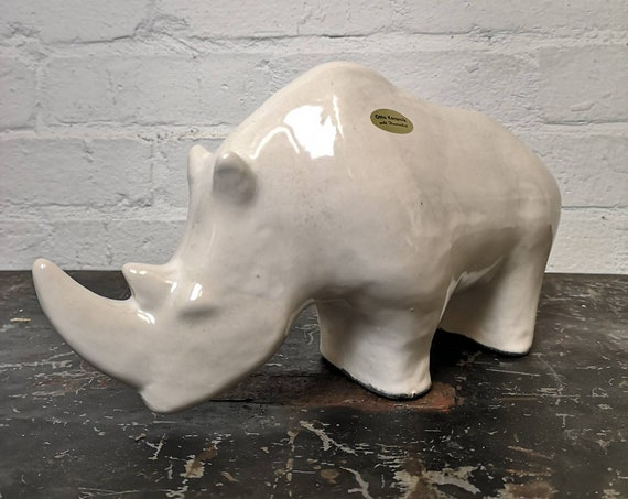 Exclusive Otto Keramik Ceramic Rhino West German Pottery Fat Lava