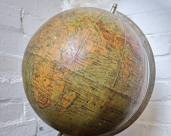 Vintage East German 1940s Physical Earth Globe By Raths Leipzig