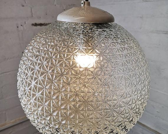 Vintage 1960s Czechoslovakian Cross Cut Diamond Glass Globe Lights