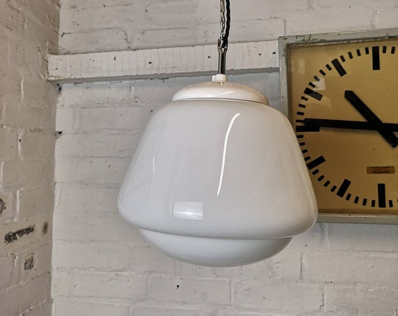 1960s Czech Opaline Glass Pendant Lights
