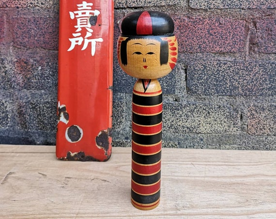Vintage Japanese Yajiro Style Wooden Hand Painted Kokeshi Doll #009