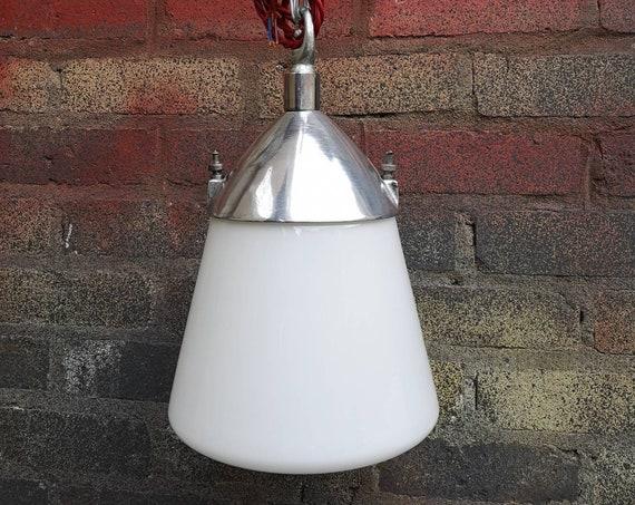 Post War Kandem BAUHAUS Opaline Glass Industrial Pendent Lights By Marianne Brandt