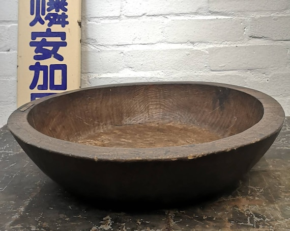 Early 1900s Large Traditional Hand Carved Wooden Japanese Bowl