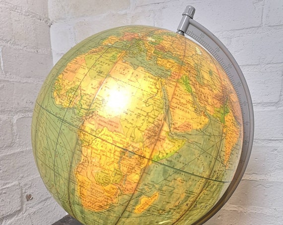 Vintage East German 1980s Physical Earth Globe Lamp By Raths Leipzig