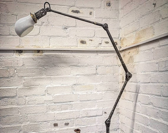 Industrial Floor Standing Task Lamp With Opaline Shade By Dugdills Circa 1930s