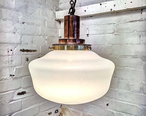 1920s Opaline Milk Glass Pendant Light