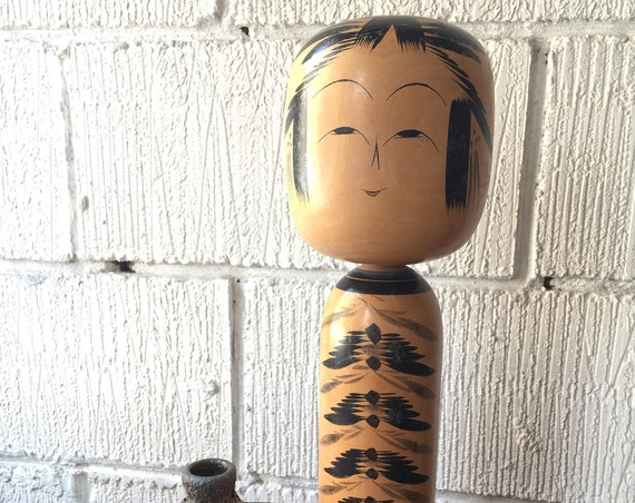 Vintage 1950's Kokeshi Japanese Wooden Hand Painted Doll