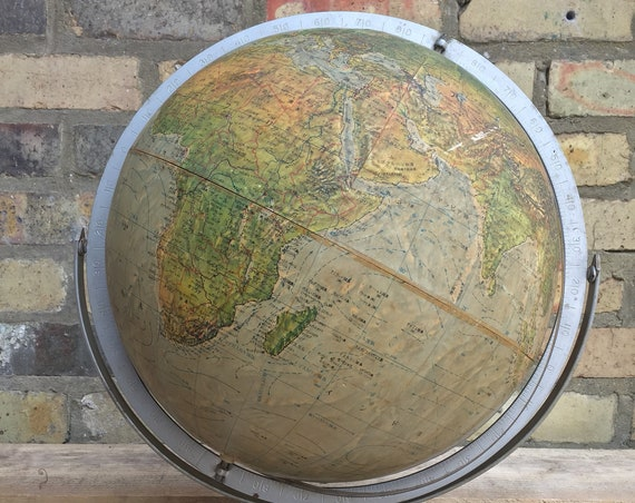 Vintage Japanese Omni Directional Globe 3D Raised Topology Made In USA By Readers Digest
