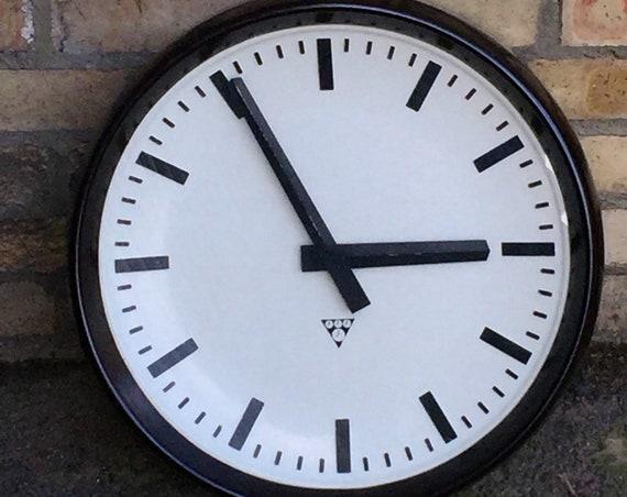 Large 50cm Czech 1950's Bakelite Office / Factory Clocks By Pragotron
