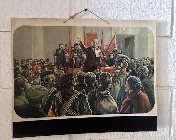 1950's Communist Era East German School Card / Poster Of Comrade Lenin