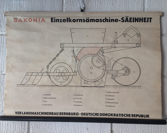 Vintage East German GDR Roll Down Poster Of Precision Seed Sowing Vehicle