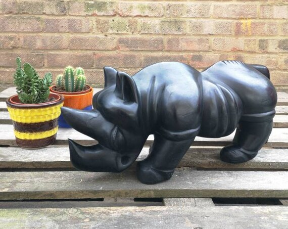 Vintage Hand Crafted Ebony Rhinoceros African Art From Mali