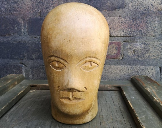 Early 1900s German Carved Wooden Millinery Head