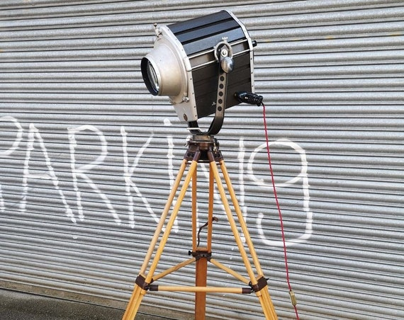 Vintage 1970s East German Verstarkertechnik Bothner KG Berlin Large Theatre Spotlight On Wooden Tripod
