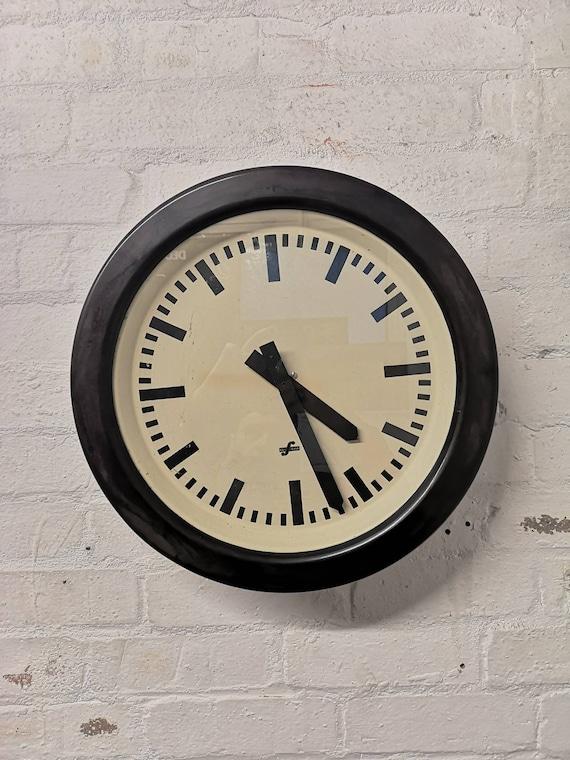 Large 1960s Bakelite East German Modernest Factory Clocks By Elfema