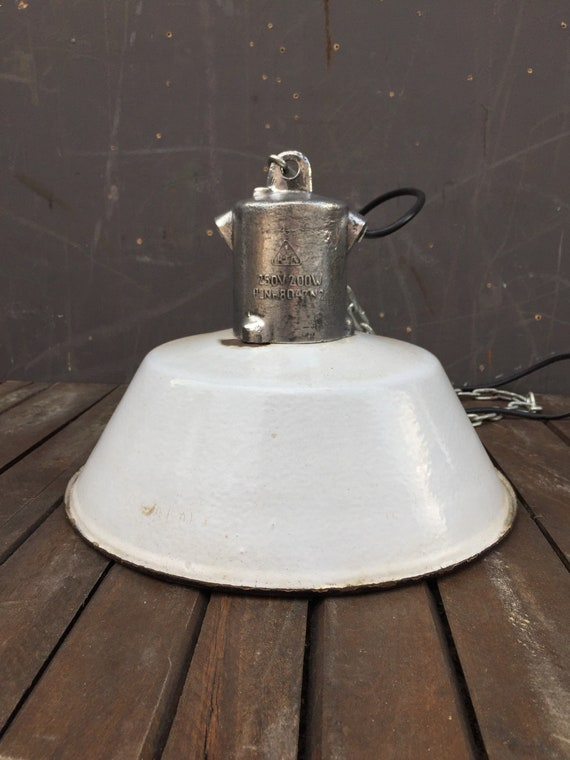 Vintage Circa 1960's East German Industrial Enamel Pendant Light