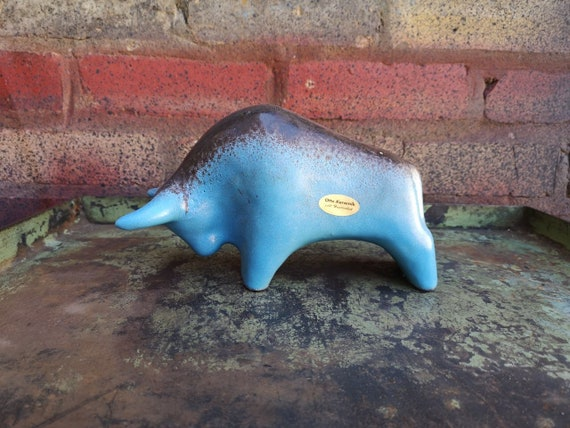 Otto Keramik Ceramic Bull West German Pottery Fat Lava