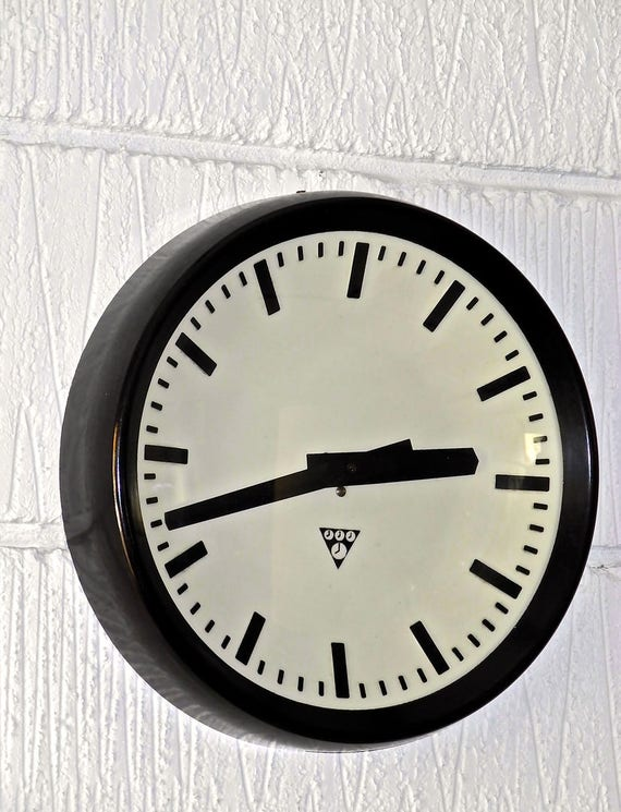 Czech 1960's Bakelite Office / Factory Clocks By Pragotron
