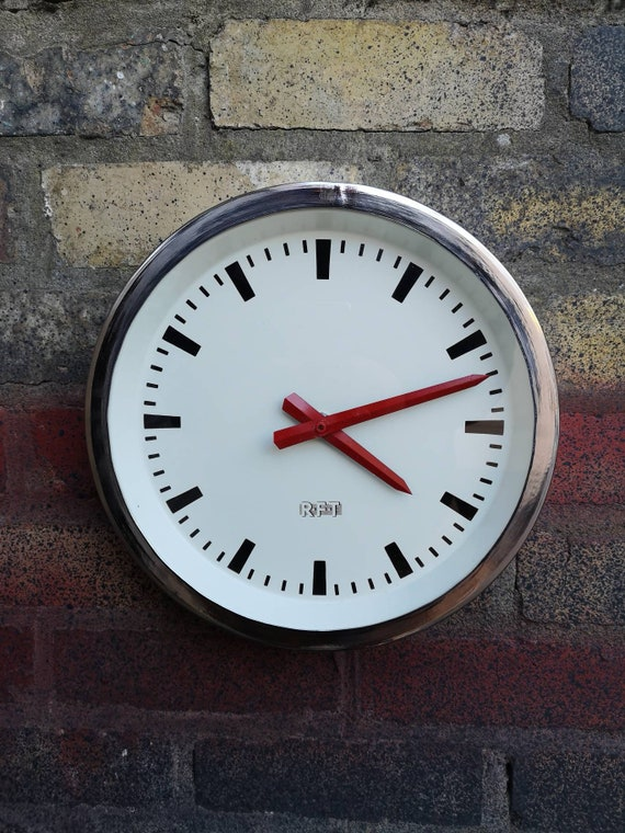1960's East German Polished Industrial Factory / Office Clocks By RFT