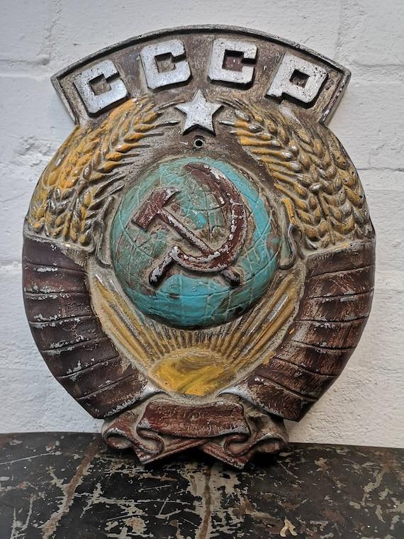 1930s USSR CCCP Coat Of Arms Soviet Union Trains Emblem Plaque