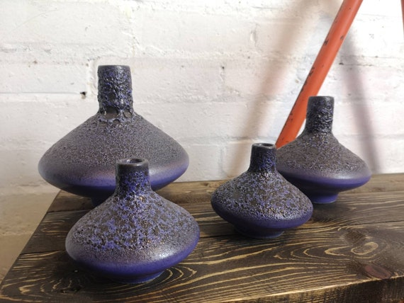 Set Of 4 Otto Keramik Ceramic UFO Vases West German Pottery Fat Lava