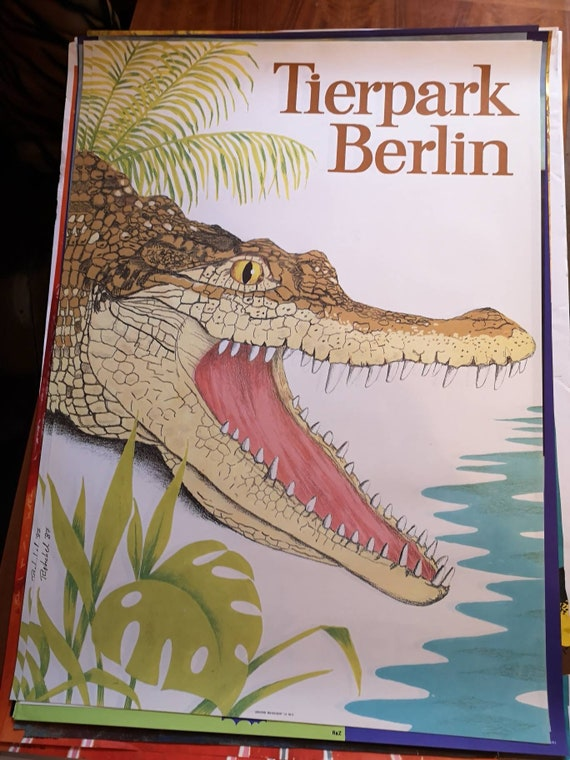 Vintage 1980s Tierpark Berlin Original Zoo Poster Advertising Of A Crocadile