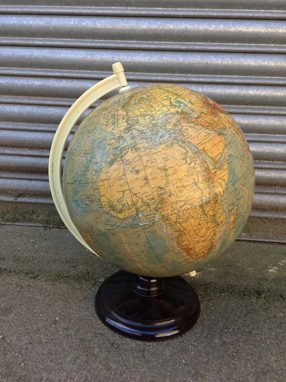 Vintage East German 1960's Physical Earth Globe By Raths Leipzig